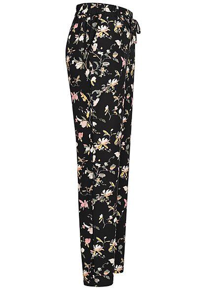 Vero Moda Damen NOOS Viskose Sommer Hose Blumen Print 2-Pockets schwarz multicolor