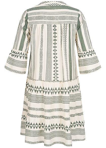 Vero Moda Damen 3/4 Arm V-Neck Tunica Kleid mit Azteken Print birch beige laurel wreath grün
