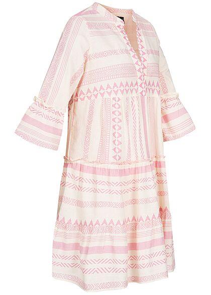 Vero Moda Damen 3/4 Arm V-Neck Tunica Kleid mit Azteken Print birch beige rosa