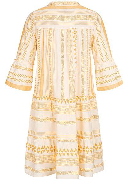 Vero Moda Damen 3/4 Arm V-Neck Tunica Kleid mit Azteken Print birch beige saffron gelb
