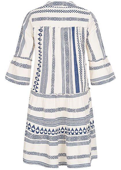Vero Moda Damen 3/4 Arm V-Neck Tunica Kleid mit Azteken Print birch beige blau