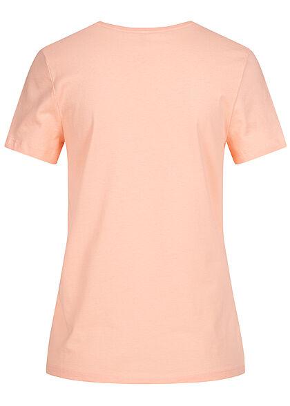 ONLY Damen Basic T-Shirt Muschel Paillettenfront peach melba orange