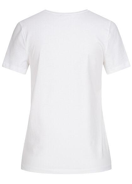 ONLY Damen Basic T-Shirt Krebs Paillettenfront bright weiss