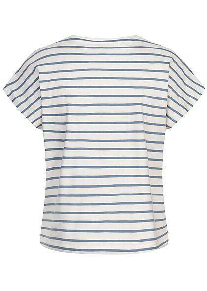 ONLY Damen Oversized T-Shirt Streifen Muster faded denim blau weiss