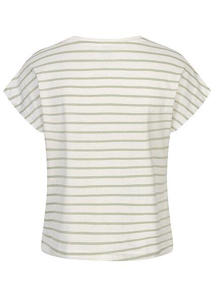 ONLY Damen Oversized T-Shirt Streifen Muster surf spray grün weiss