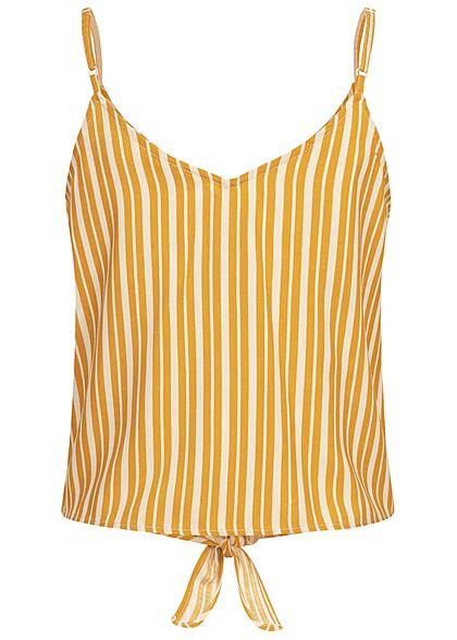 ONLY Damen Viskose Träger Top Deko Knopfleiste Bindedetail Streifen golden gelb weiss