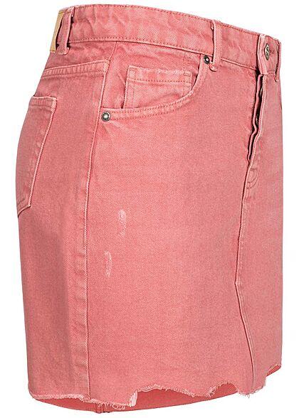 ONLY Damen Jeans Rock Destroy Optik 5-Pockets Fransen dusty rose dunkel pink