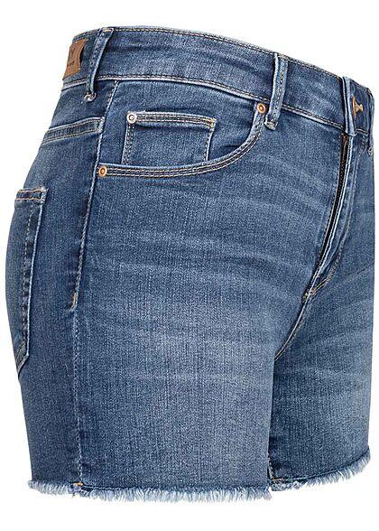 ONLY Damen NOOS Jeans Shorts 5-Pockets Fransen Mid-Waist dunkel blau denim