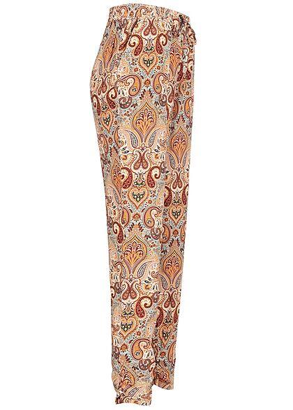 Hailys Damen Viskose Stoffhose Gummibund Paisley Print 2-Pockets multicolor
