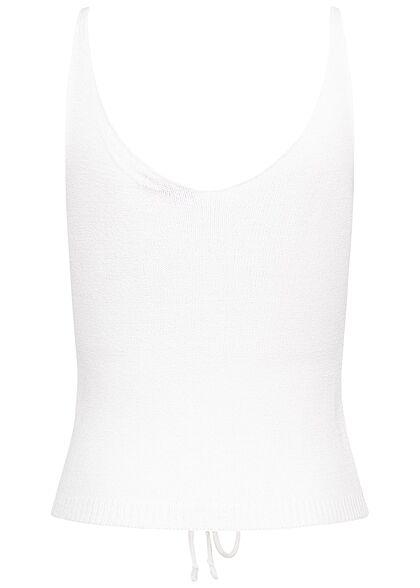 Hailys Damen V-Neck Strick Top mit raffbarer Front weiss
