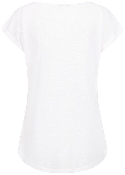 Hailys Damen Vokuhila T-Shirt Freedom Friends Print weiss