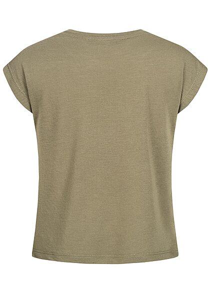 Hailys Kids Mädchen T-Shirt Glitzer & Paillettenfront Federn Print khaki gold