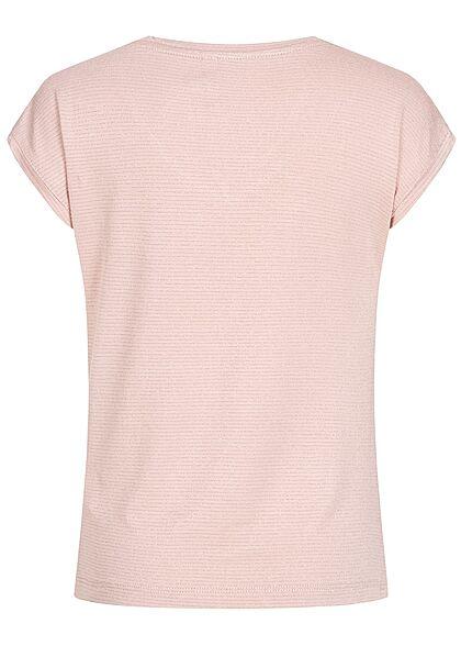 Hailys Kids Mädchen V-Neck Lurex Glitzer T-Shirt Streifen Muster rose