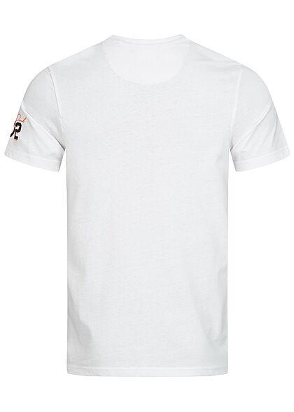 Brave Soul Herren T-Shirt Frontprint optic weiss