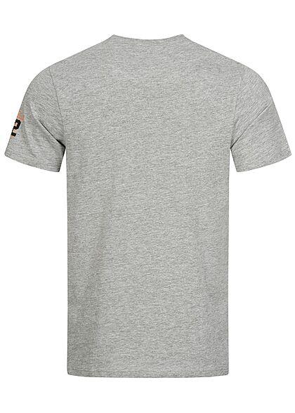 Brave Soul Herren T-Shirt Frontprint hellgrau melange