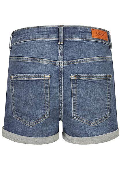 ONLY Damen NOOS High-Waist Denim Shorts 5-Pockets Knopfleiste medium blau denim