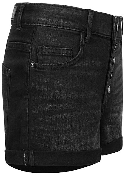 ONLY Damen NOOS High-Waist Denim Shorts 5-Pockets Knopfleiste schwarz denim