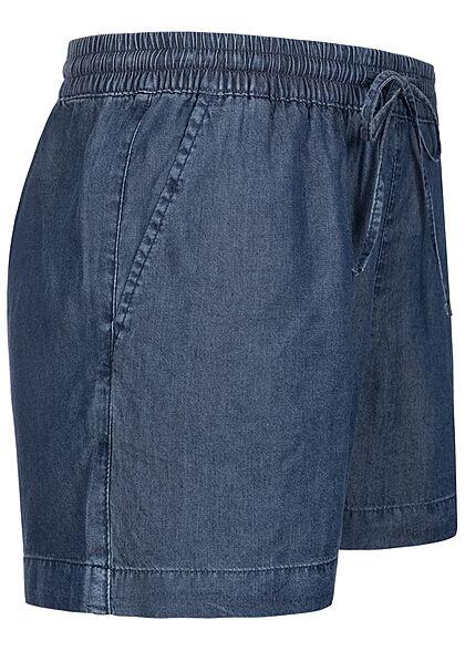 ONLY Damen NOOS Lyocell Denim Shorts Tunnelzug 2-Pockets dunkel blau denim