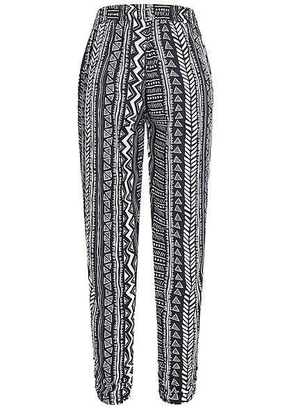 Hailys Damen Viskose Sommer Stoffhose 2-Pockets Azteken Print navy blau weiss