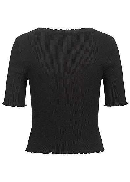 Vero Moda Damen 1/2 Arm Rib V-Neck Shirt Deko Knopfleiste mit Frilldetails schwarz