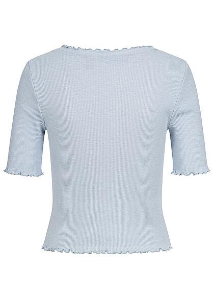 Vero Moda Damen 1/2 Arm Rib V-Neck Shirt Deko Knopfleiste mit Frilldetails nebel blau