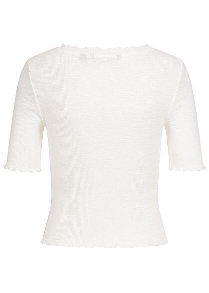 Vero Moda Damen 1/2 Arm Rib V-Neck Shirt Deko Knopfleiste mit Frilldetails schnee weiss