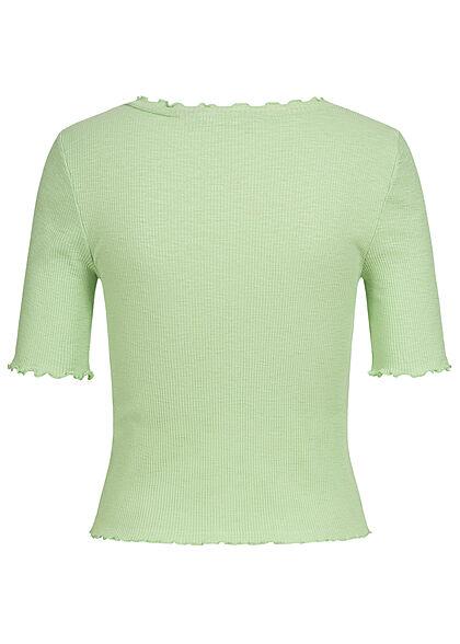 Vero Moda Damen 1/2 Arm Rib V-Neck Shirt Deko Knopfleiste mit Frilldetails spruce grün