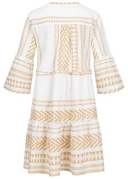Tom Tailor Damen 7/8 Arm V-Neck Stufenkleid Boho-Kleid Jaquard Muster desert beige