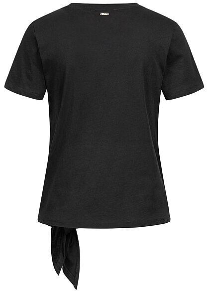 Tom Tailor Damen T-Shirt mit Bindedetail seitlich Loose Fit tief schwarz