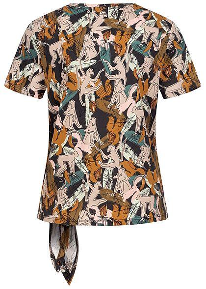 Tom Tailor Damen T-Shirt mit Bindedetail seitlich Loose Fit AOP Monkey Print multicolor