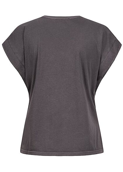 Tom Tailor Damen V-Neck T-Shirt Ärmelumschlag tief schwarz