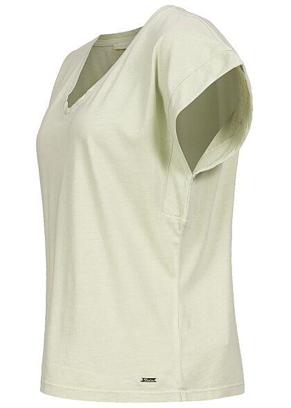 Tom Tailor Damen V-Neck T-Shirt Ärmelumschlag dusty hellgrün