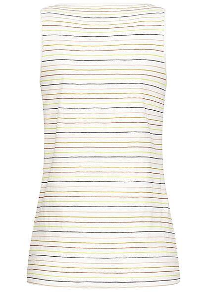 Tom Tailor Damen V-Neck Henley Top Zick Zack Streifen Muster multicolor