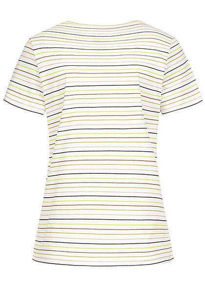 Tom Tailor Damen T-Shirt Multicolor Streifen Muster off weiss multicolor