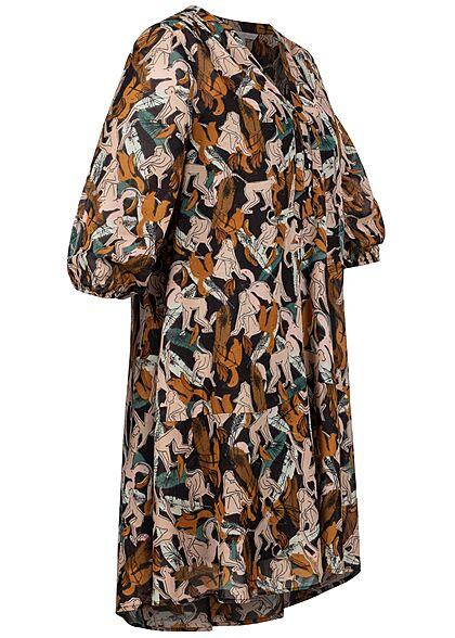Tom Tailor Damen 3/4 Arm V-Neck Kleid Knopfleiste Monkey Print multicolor