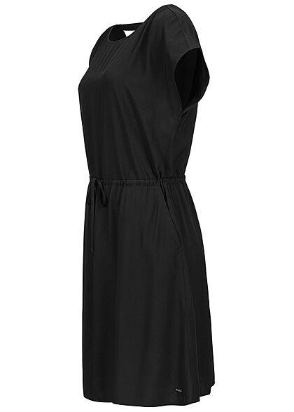 Tom Tailor Damen Viskose Sommer Kleid Cut Out hinten Taillengummizug tief schwarz
