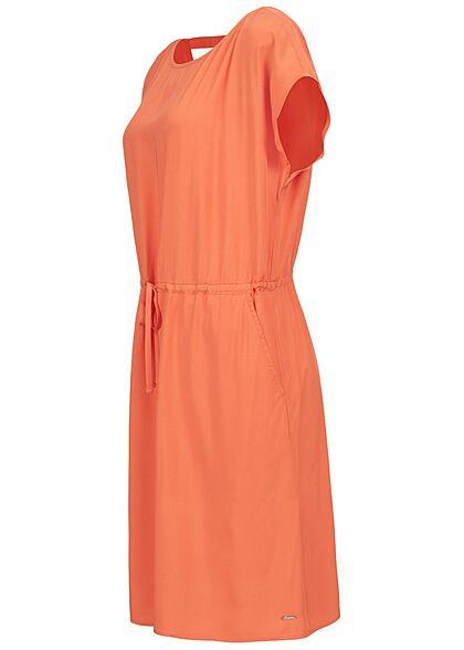Tom Tailor Damen Viskose Sommer Kleid Cut Out hinten Taillengummizug orange