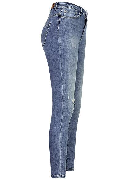 ONLY Damen NOOS Skinny High-Waist Jeans Hose Crash Optik 5-Pockets hellblau denim