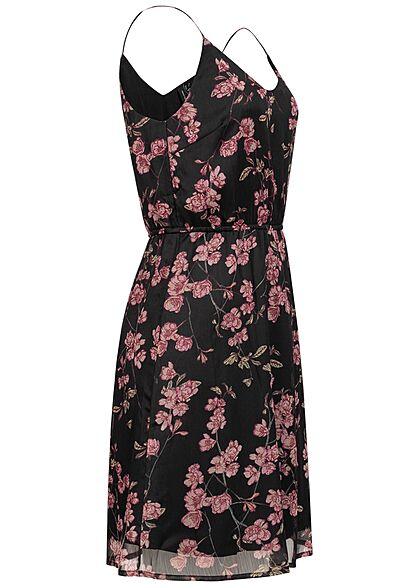 Vero Moda Damen V-Neck Sommer Kleid Taillengummibund Blumen Muster schwarz rose