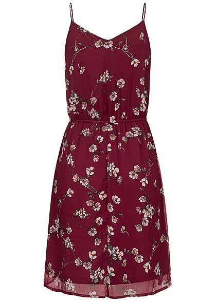Vero Moda Damen V-Neck Sommer Kleid Taillengummibund Blumen Muster tibetan rot