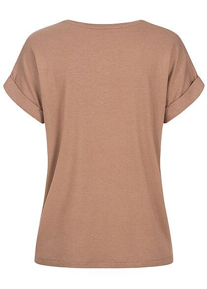 ONLY Damen NOOS Solid T-Shirt mit Ärmelumschlag brownie braun