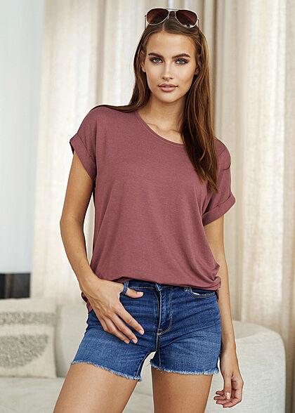 ONLY Damen NOOS Solid T-Shirt mit Ärmelumschlag rose braun lila