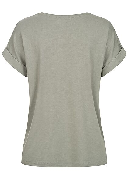 ONLY Damen NOOS Solid T-Shirt mit Ärmelumschlag shadow grün