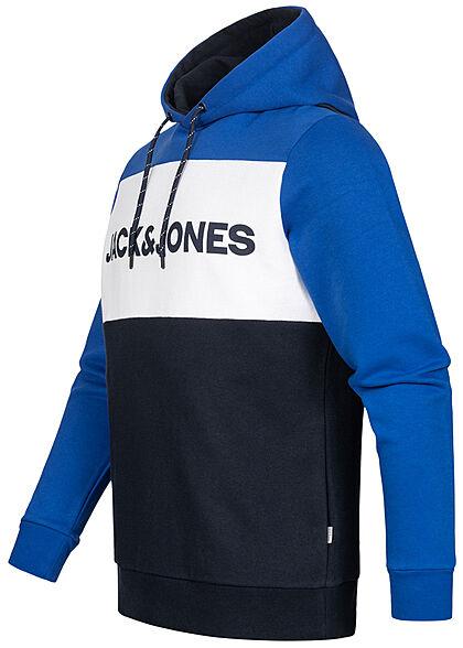 Jack and Jones Herren Colorblock Logo Hoodie Kapuze Tunnelzug classic blau