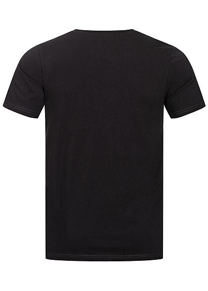 Jack and Jones Herren T-Shirt Slim Fit Logo Print schwarz weiss