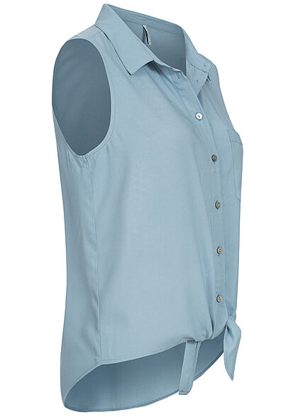 ONLY Damen Blusen Top Bindedetail Vokuhila Knopfleiste faded denim blau