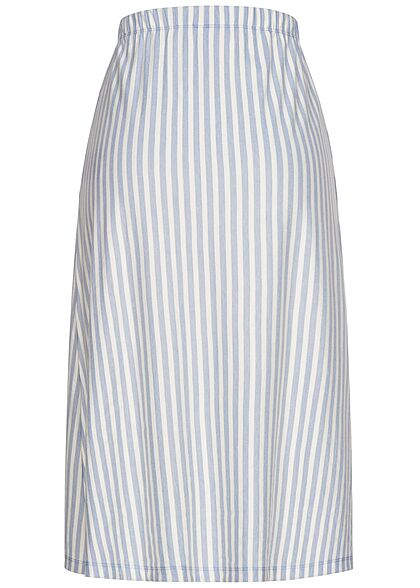ONLY Damen Longform Rock Knopfleiste Streifen Muster faded denim blau weiss