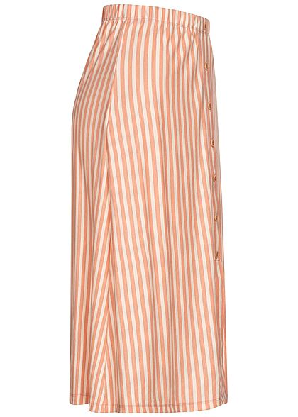 ONLY Damen Longform Rock Knopfleiste Streifen Muster peach melba orange weiss
