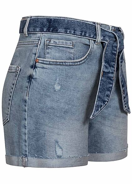 ONLY Damen Mom Jeans Shorts Destroy Optik Bindegürtel 5-Pockets medium blau denim