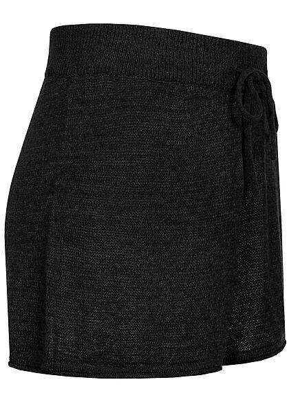 ONLY Damen Strick Shorts Loose Fit Tunnelzug schwarz